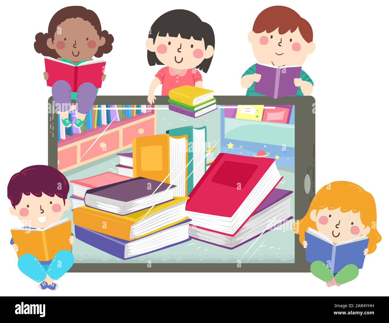 Image result for computer and kids with books cartoon
