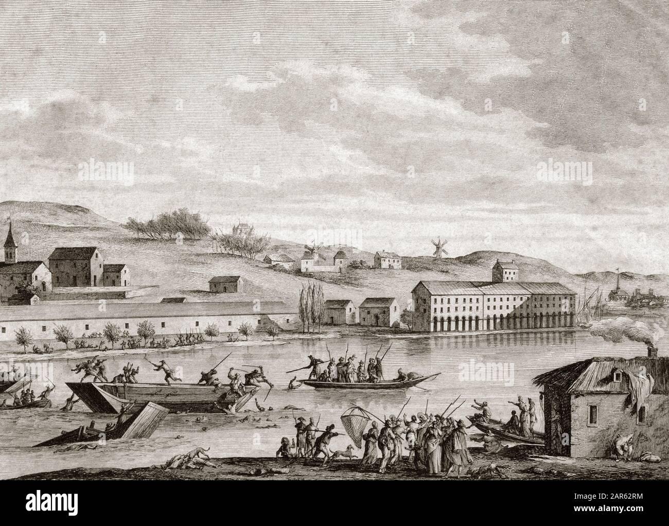 The Nantes Drowning - La Terreur pendant la Revolution Francaise : les noyades de Nantes, 1793 - des pretres insermentes enfermes dans un bateau sont Stock Photo