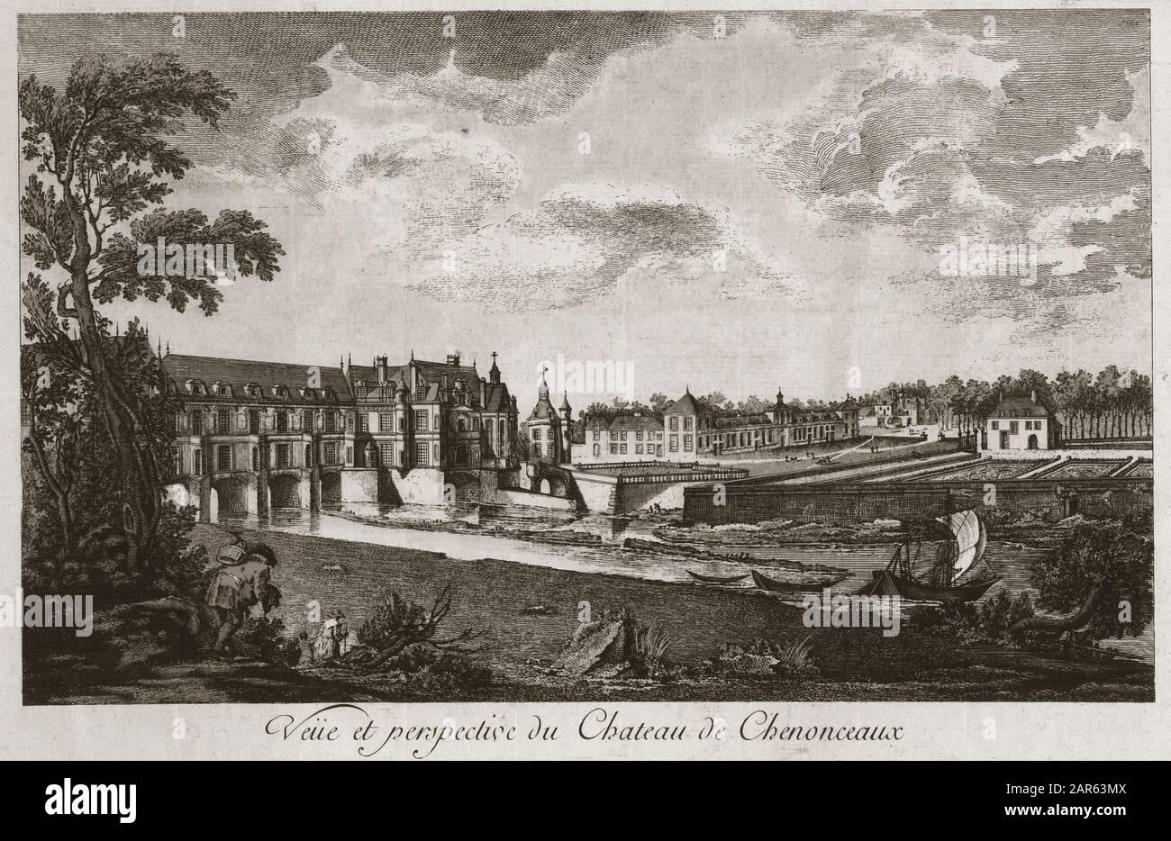 https www alamy com vue et perspective du chateau de chenonceau en indre et loire france gravure du 18eme siecle image341268730 html
