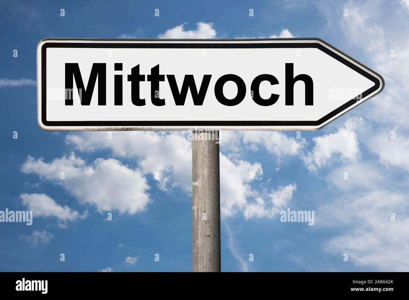 Detail photo of a signpost with the inscription Mittwoch (Wednesday) Stock Photo