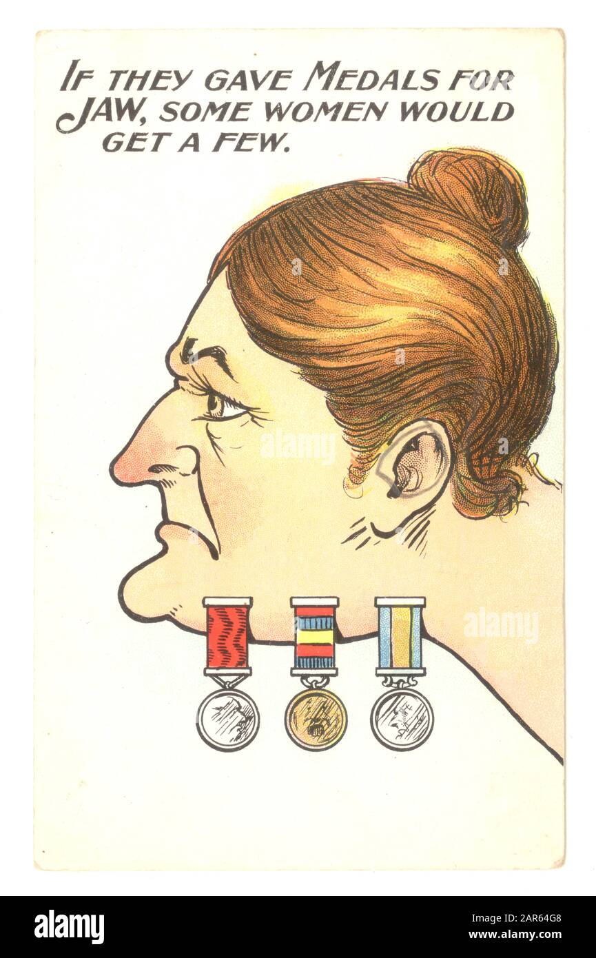 Early 1900's comic anti-suffragette postcard depicting a bossy woman with medals on her jaw, sticking her neck out by demanding equal voting rights for women U.K. The inference is that only unattractive women would be unfeminine enough to speak up for the women's suffrage campaign. It is blatantly against strong opinionated women. Women must keep their place. Stock Photo