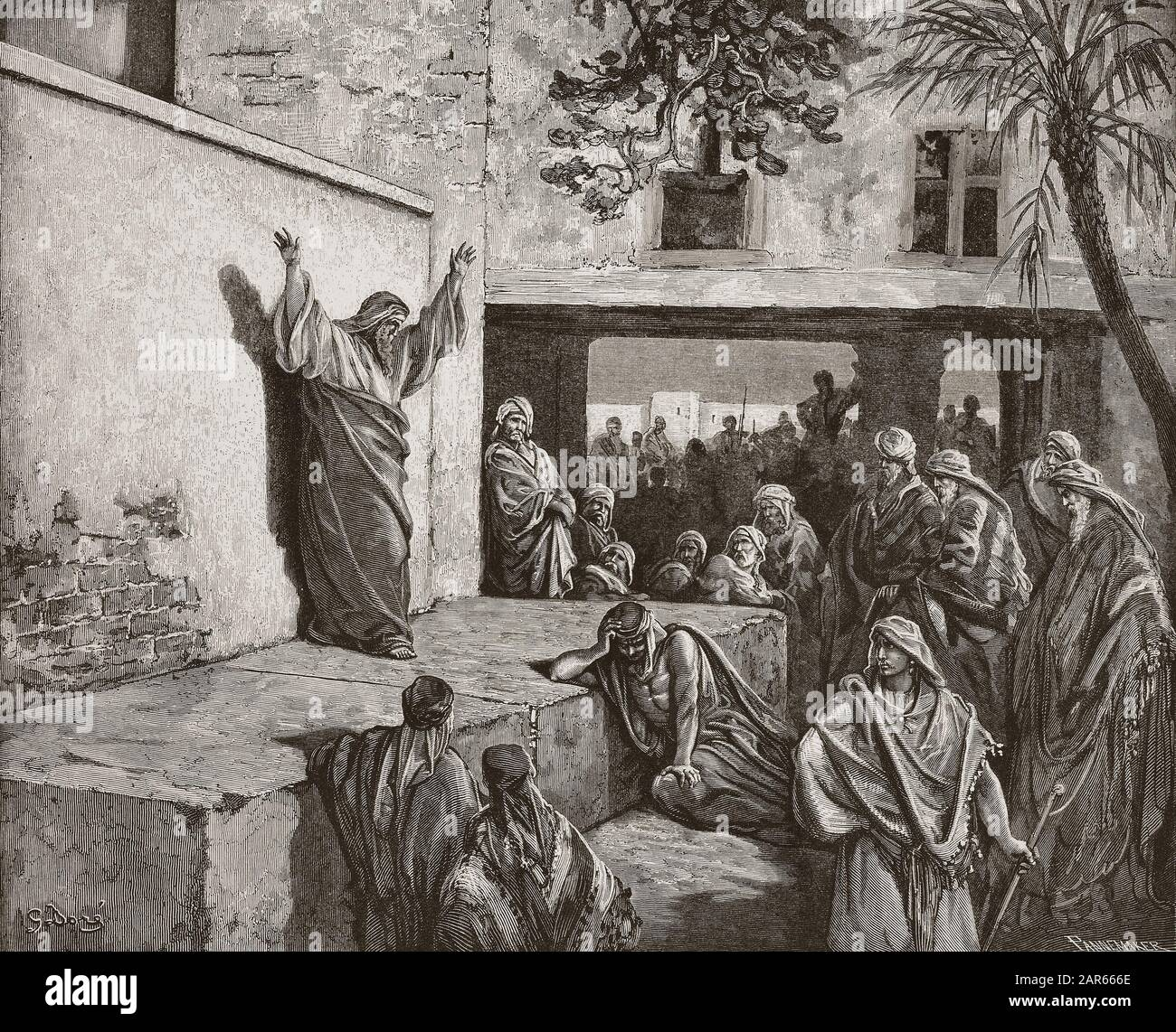 """Micah the Moreshite prophet preaching to the Israelites, engraving by Gustave Dore - """"Le prophete Michee exhortant le peuple d'Israel a la penitence"""" Stock Photo"""