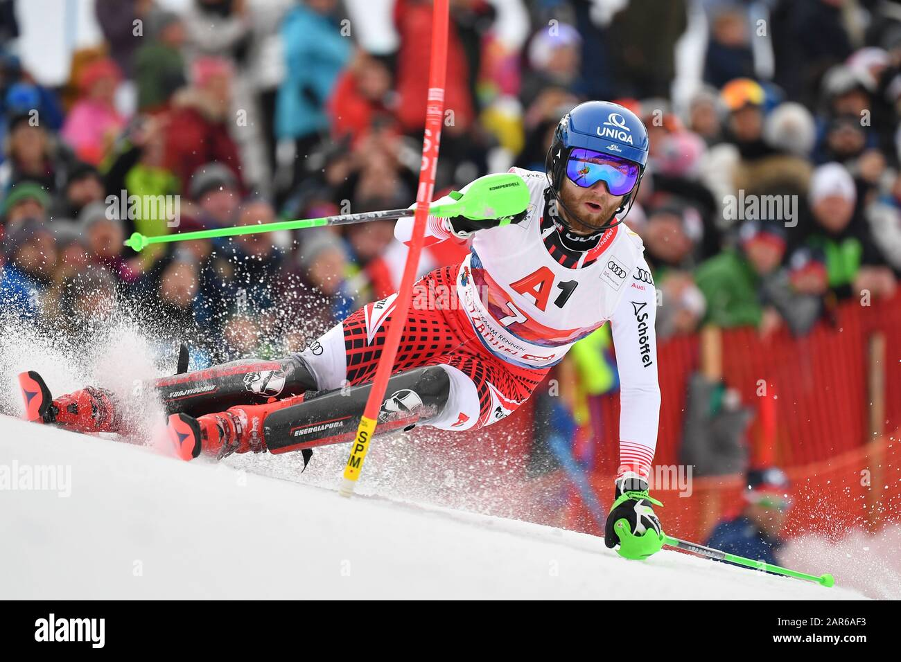 Marco SCHWARZ (AUT), action, alpine skiing, men's slalom, 80th Hahnenkamm race 2020, Kitzbuehel, Hahnenkamm, on January 26th, 2020 | usage worldwide Stock Photo