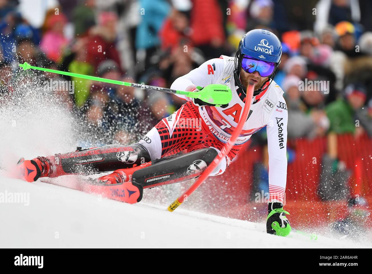 Marco SCHWARZ (AUT), action, alpine skiing, men's slalom, 80th Hahnenkamm race 2020, Kitzbuehel, Hahnenkamm, on January 26th, 2020 | usage worldwide Stock Photo