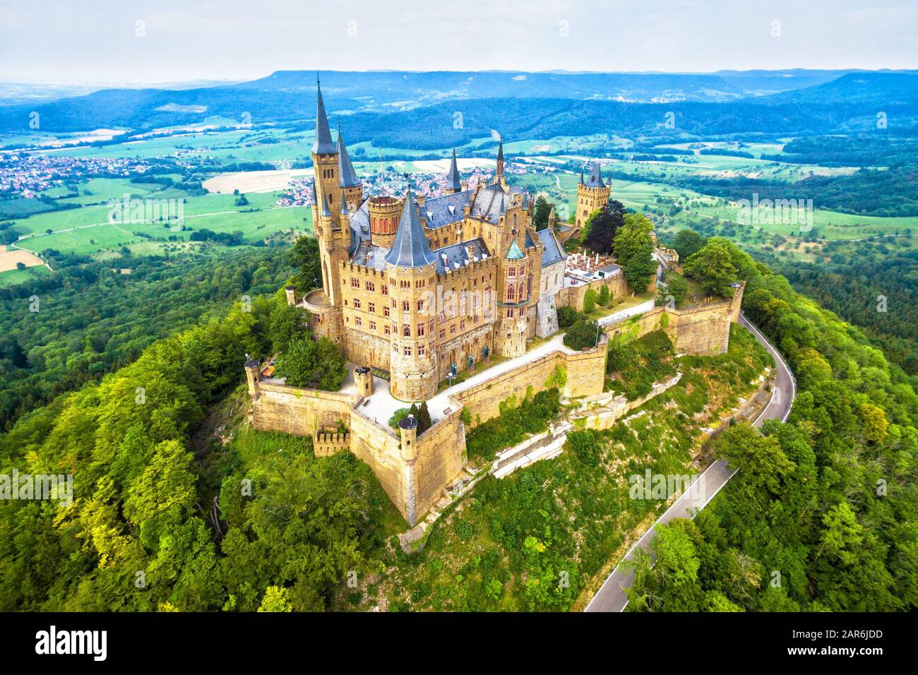 Hohenzollern Castle On Mountain Germany This Castle Is A Famous Landmark In Stuttgart Vicinity Aerial Panoramic View Of Burg Hohenzollern In Summer Stock Photo Alamy