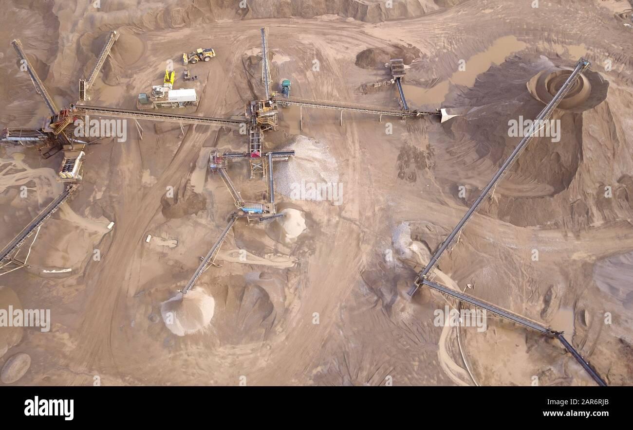 Drone aerial gravel pit mining sorting glacial river gravel Ohio Stock Photo