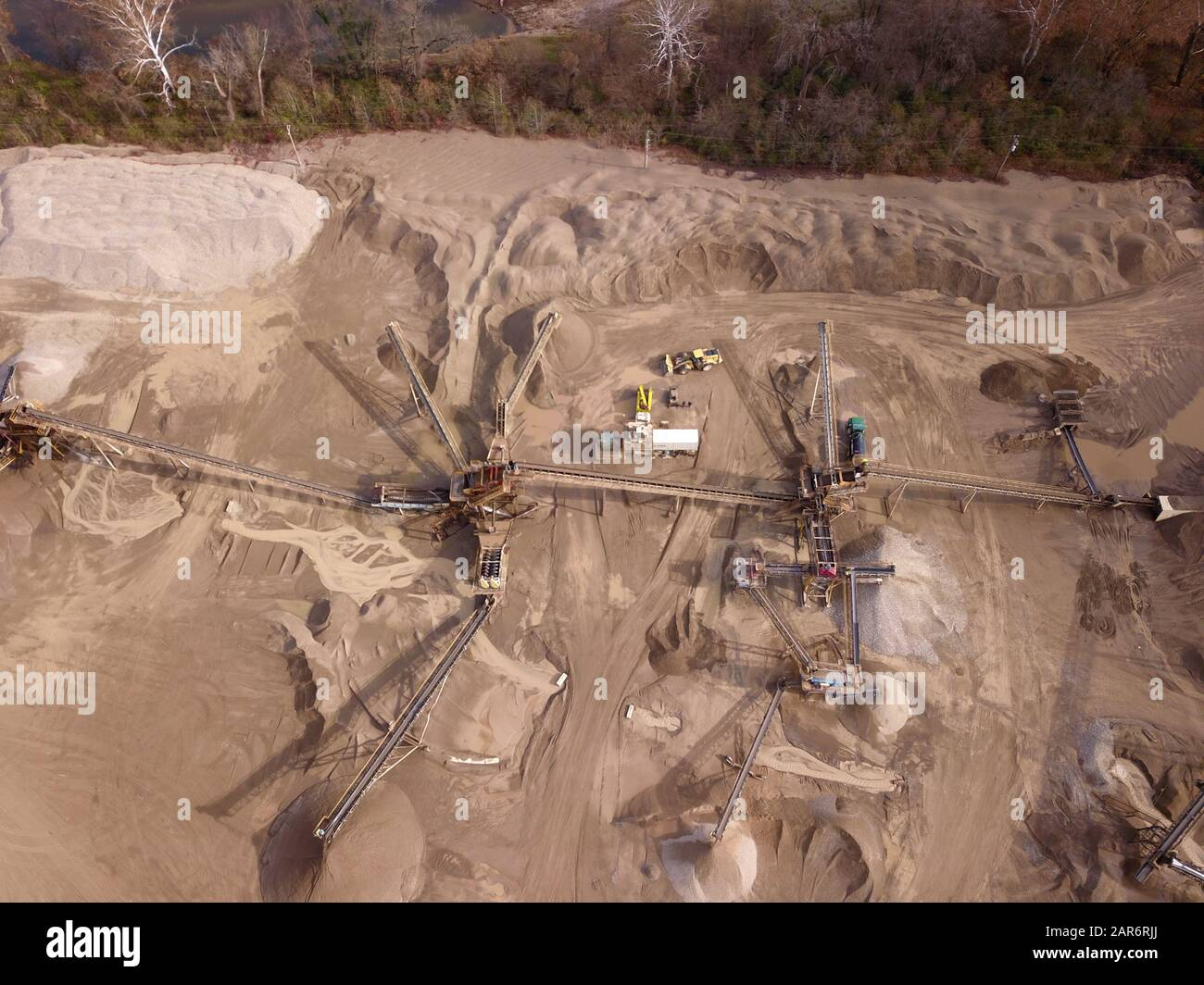 Drone aerial gravel pit mining sorting glacial river gravel Ohio Stock Photo