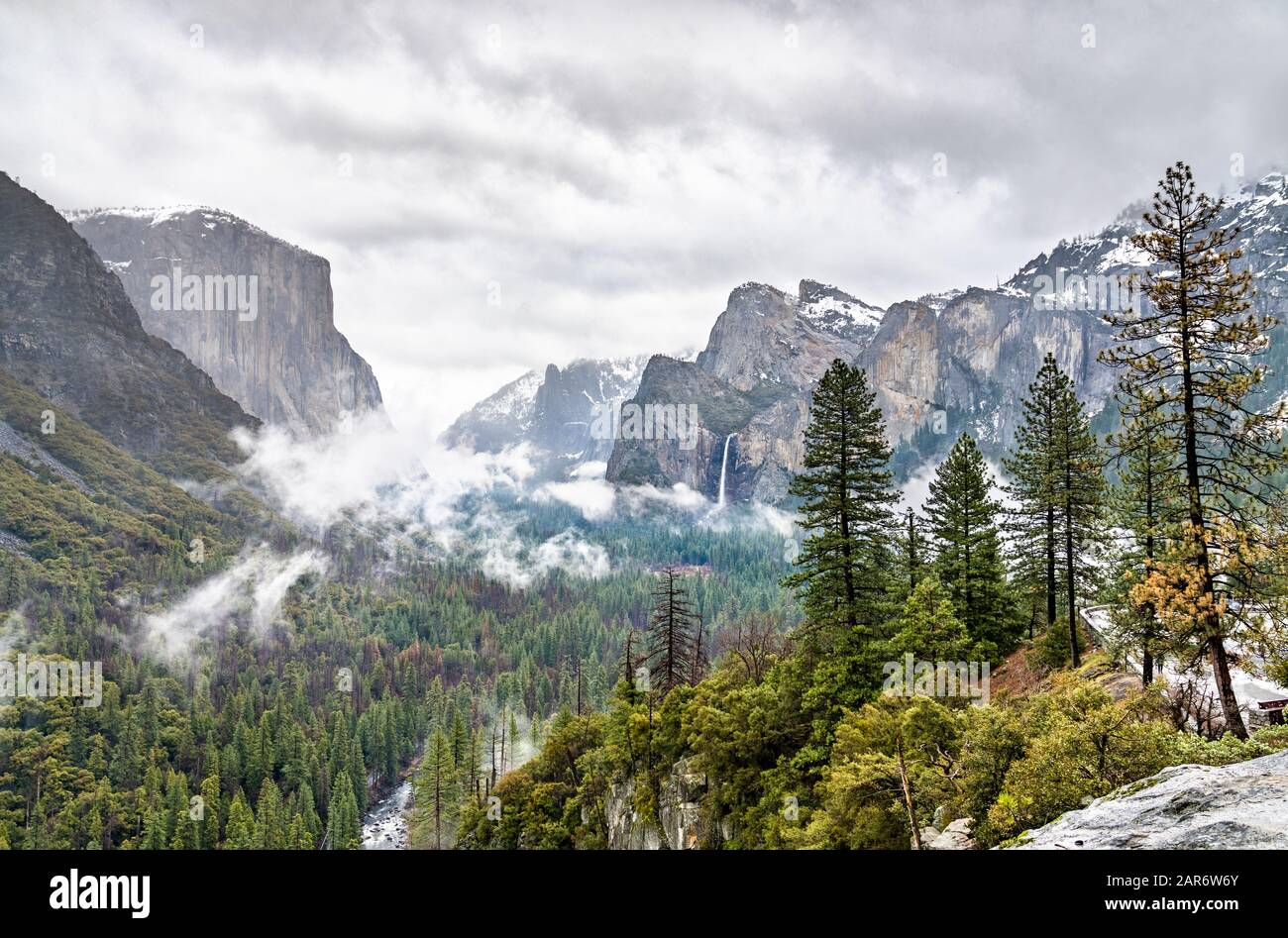 Iconic view of Yosemite Valley in California Stock Photo
