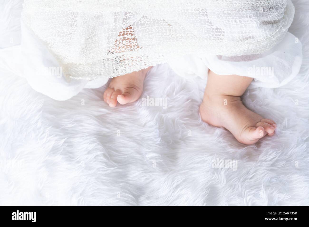 Cute Newborn Baby Girl In White Blanket On Nursery Bed Adorable New Born Child Little Boy Eyes Look People Family New Childhood Infant Soft Skin P Stock Photo Alamy