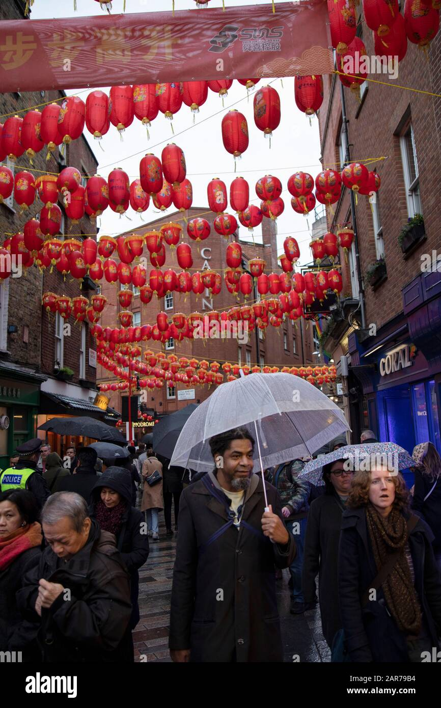 Rain For Chinese New Year Celebrations On Gerrard Street In Chinatown On 26th January 2020 In London England United Kingdom Local Chinese Community And Londoners Gather On This Famous Area Of Central
