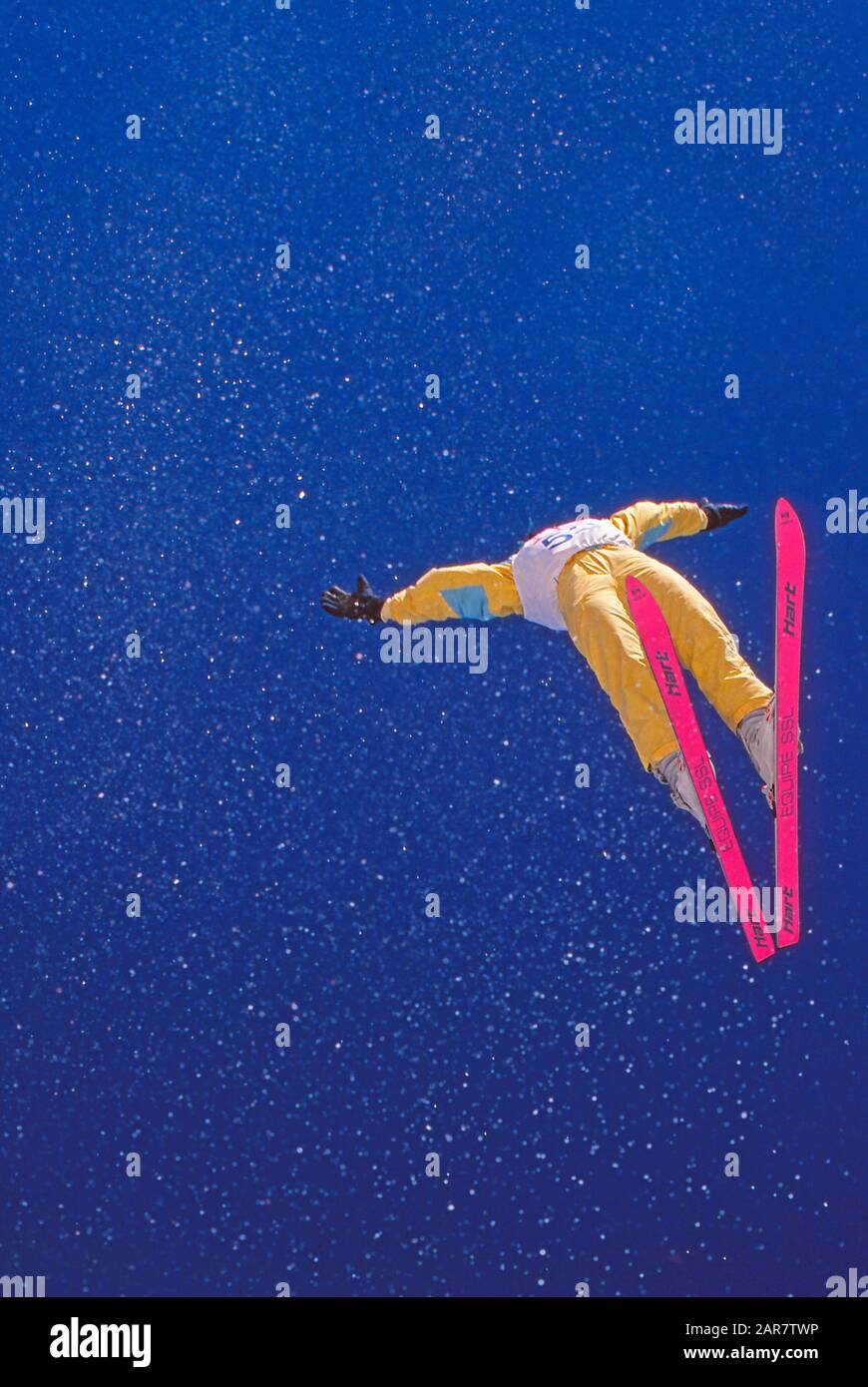 Freestyle aerial skiing or skier Stock Photo