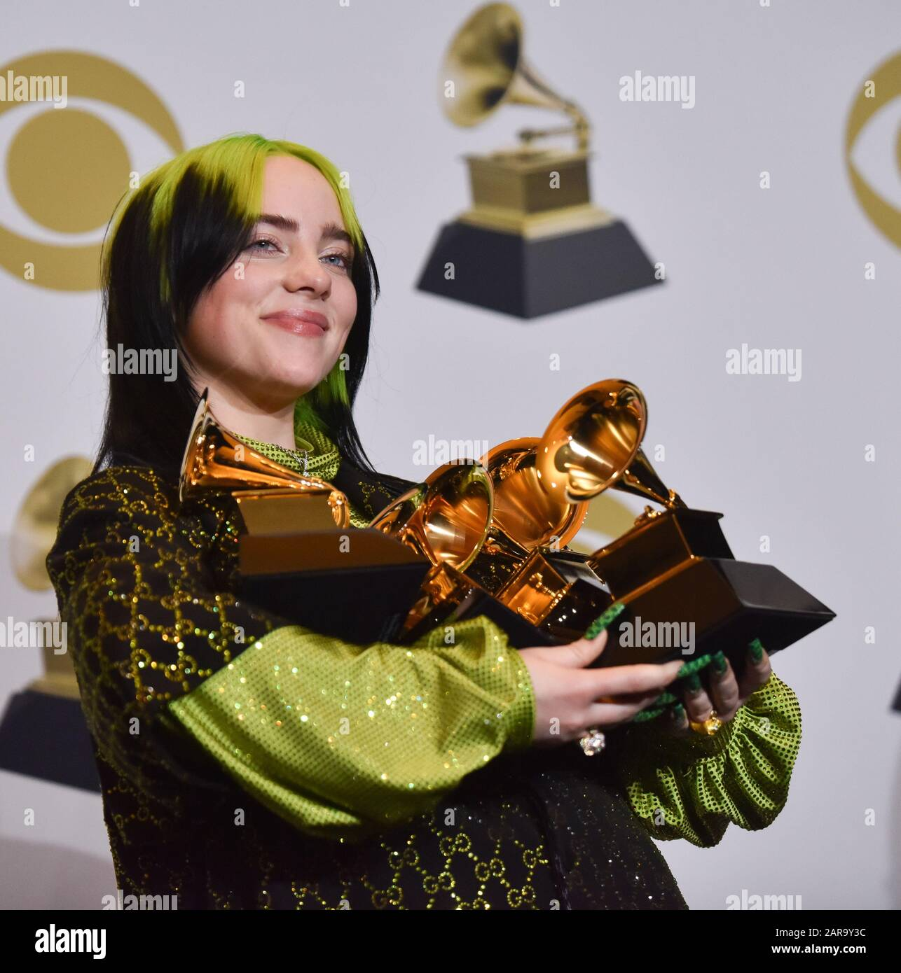 Los Angeles, CA, USA. 26th Jan 2020. Billie Eilish appears backstage with her awards for Record of the Year for 'Bad Guy, ' Album of the Year for 'when we all fall asleep, where do we go?, ' Song of the Year for 'Bad Guy, ' Best New Artist and Best Pop Vocal Album for 'when we all fall asleep, where do we go?, ' during the 62nd annual Grammy Awards held at Staples Center in Los Angeles on Sunday, January 26, 2020 . Photo by Christine Chew/UPI Credit: UPI/Alamy Live News Stock Photo