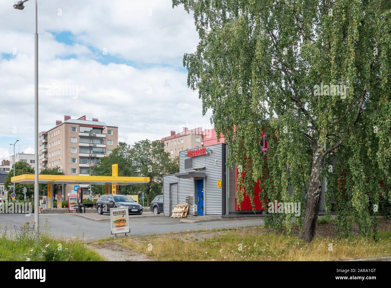 Hesburger Fast Food and Shell Gas Station in Hämeenlinna Finland Stock Photo