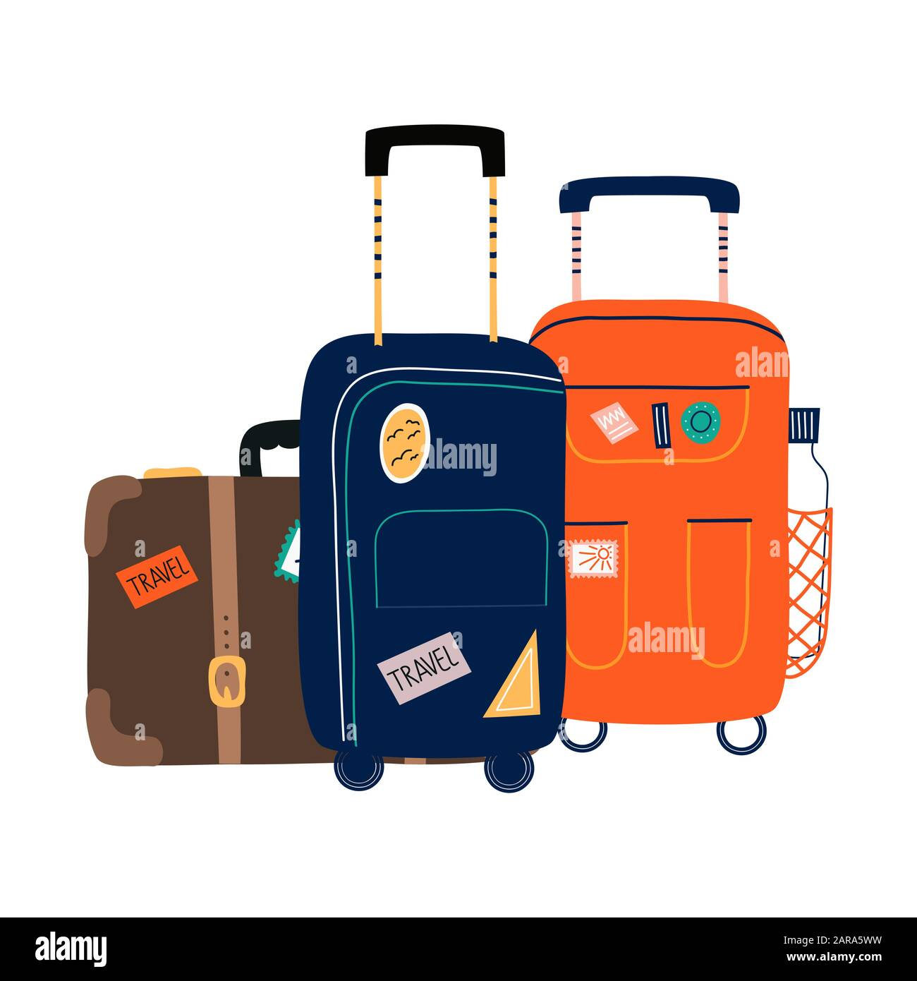 Isolated Suitcases With Wheels Travel Bag With Various Stickers Hand Drawn Vector Illustration In Flat Cartoon Style Stock Vector Image Art Alamy