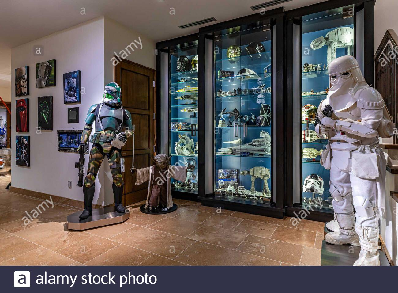 **MANDATORY CREDIT: The Agency/Cover Images**  A $26,500,000 property is on sale that is the ultimate Star Wars fan's dream.   In a galaxy not so far away—actually the enclave of Hidden Hills in L.A. —is a home featuring an out-of-this-world collection of memorabilia from the sci-fi saga.   Inclusion of the collectibles is reportedly open to negotiation, and there is also an 18-seat theatre is outfitted with Star Wars-inspired details.   Additional features include a private on-site observatory, basement entertainment complex with home theatre, a fitness studio, a wine room, a 6-car garage and Stock Photo