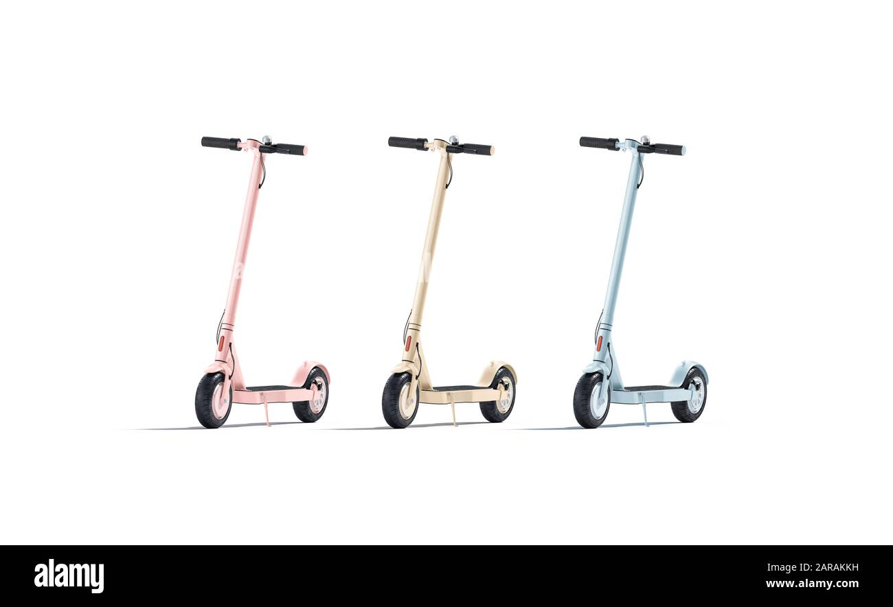 Blank colored electric scooter mockup set, front view Stock Photo