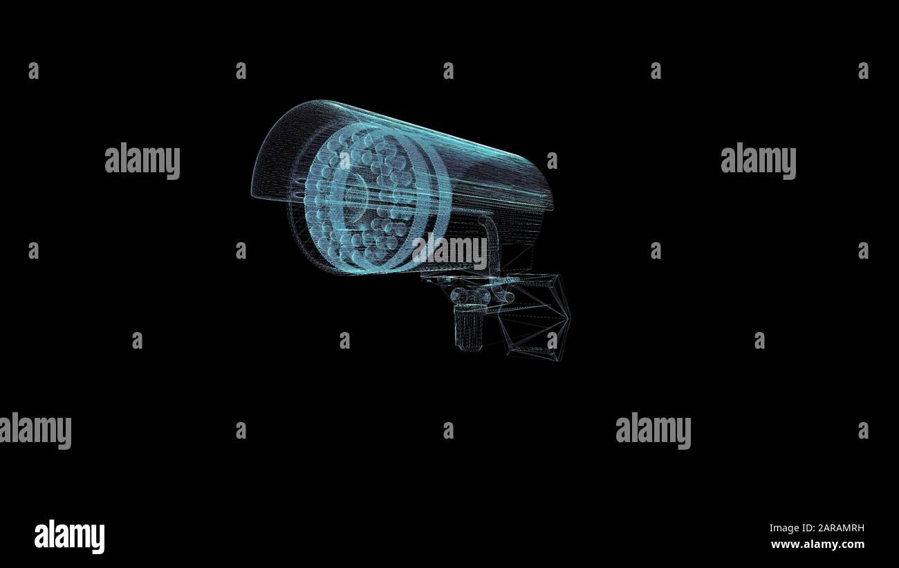 Security Camera Hologram Wireframe. Nice 3D Render on a black background Stock Photo