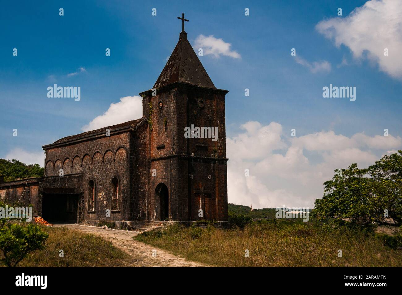 The abandoned Catholic church at Bokor Hill Station, Cambodia. In the hills high above Kampot it offered strategic importance in the war Stock Photo