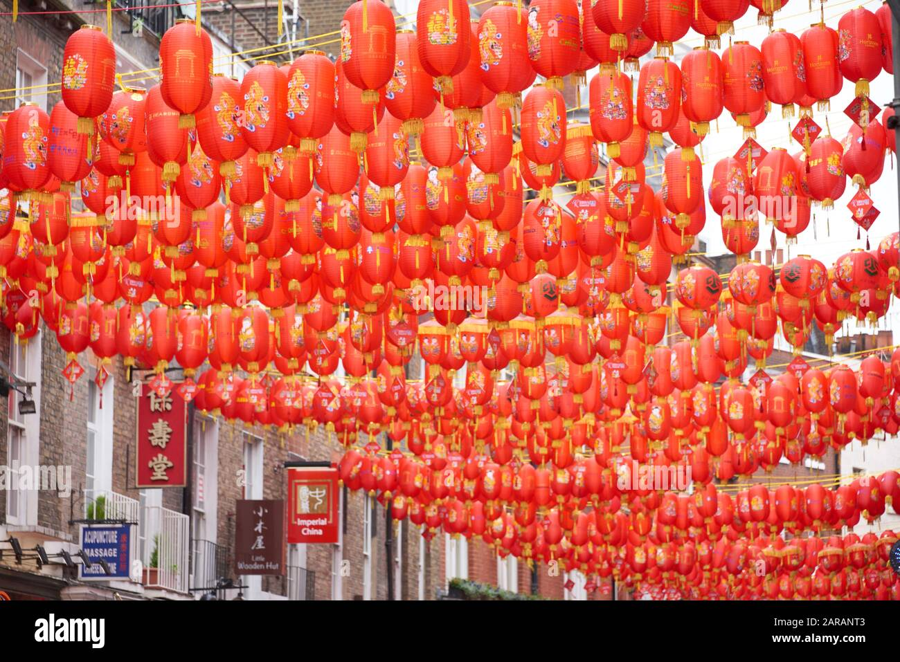 Chinese New Year 2020 London Chinatown London With Celebration Red Lanterns Above The Streets Year Of Rat 2020 Stock Photo Alamy