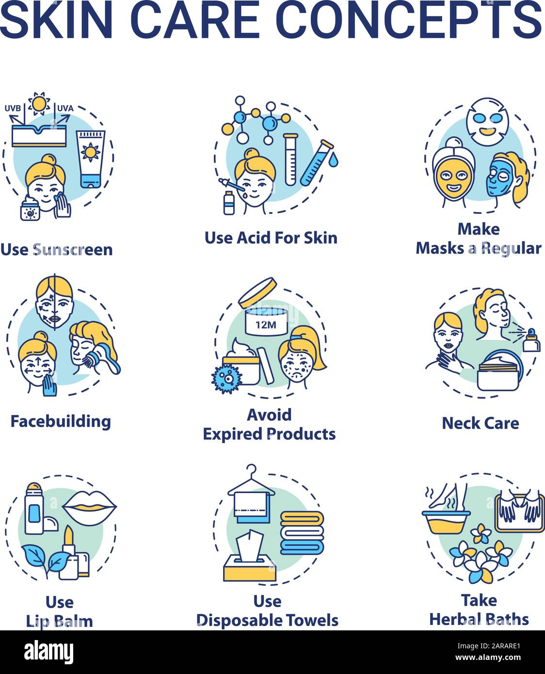 Skin care tips concept icons set. Face and body youthful