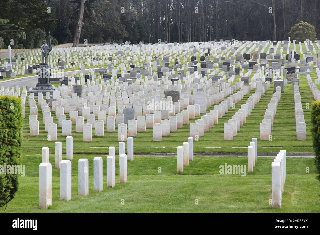 SAN FRANCISCO, USA - APRIL 9, 2014: San Francisco National Cemetery in California. The memorial area is administered by the US Department of Veterans Stock Photo