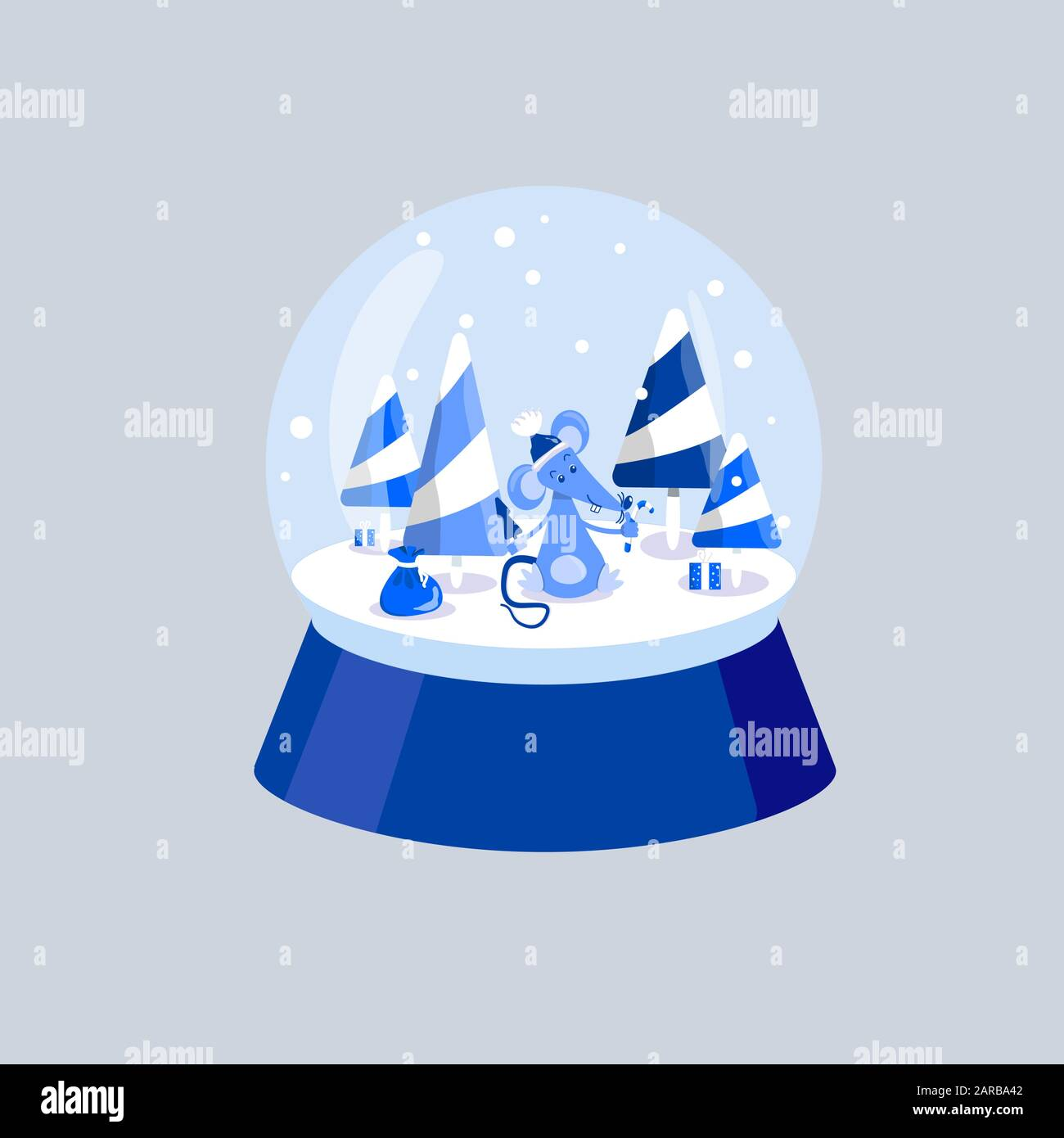 Blue rat with a Christmas tree and candy in its paws. Mouse, caramel trees and gifts. White and blue winter illustration. Snowball. A little mouse is Stock Vector