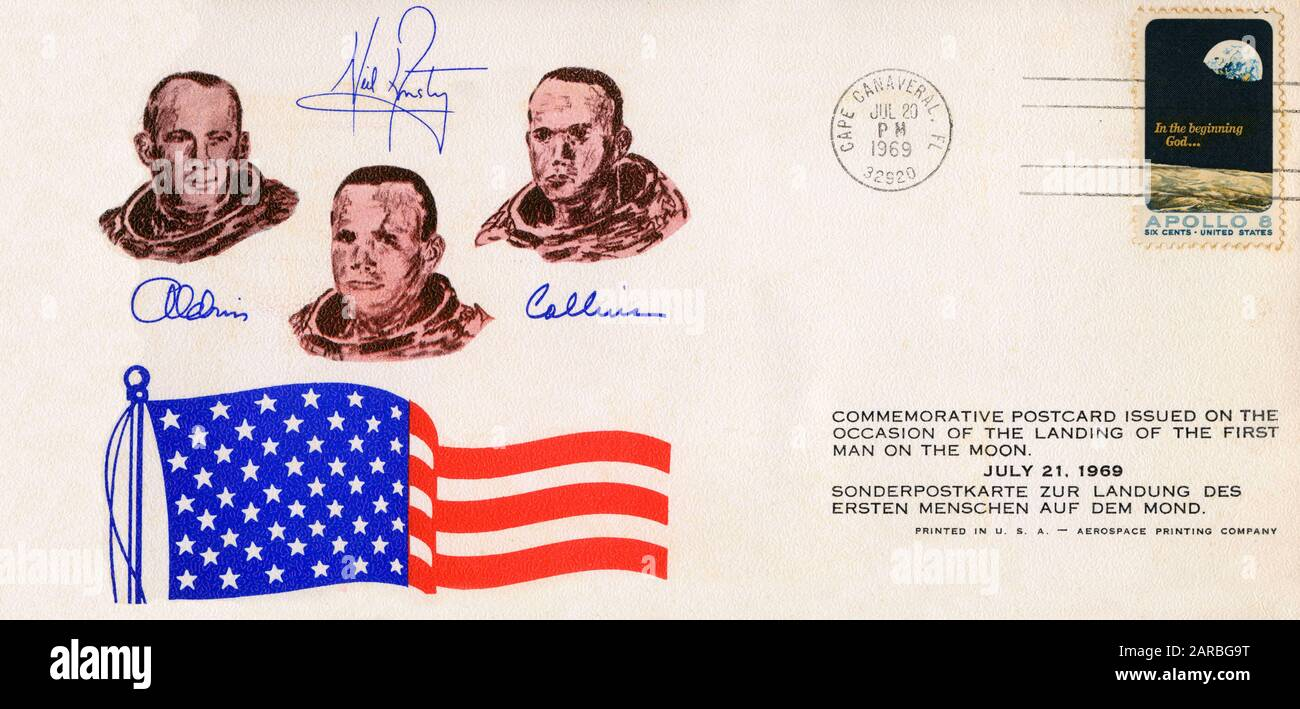 First Day Cover Commemorating the Moon Landing on July 20, 1969. Armstrong walked on the surface on July 21.     Date: 1969 Stock Photo