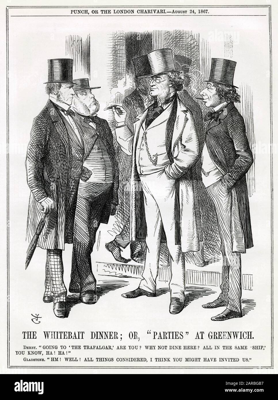 Cartoon, The Whitebait Dinner; or, Parties at Greenwich -- rival politicians encounter each other at the traditional summertime Whitebait Dinner in Greenwich, SE London. Lord Derby and Benjamin Disraeli are looking pleased with themselves after their success with the Reform Bill; William Gladstone and John Bright are looking less happy.      Date: 1867 Stock Photo