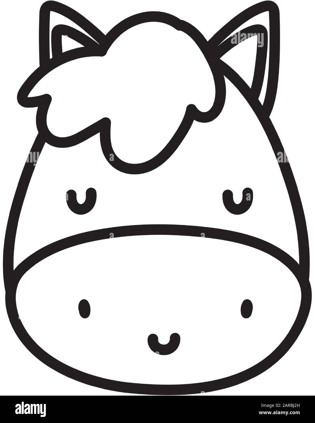 Cute Horse Face Livestock Farm Animal Cartoon Vector Illustration Thick Line Stock Vector Image Art Alamy