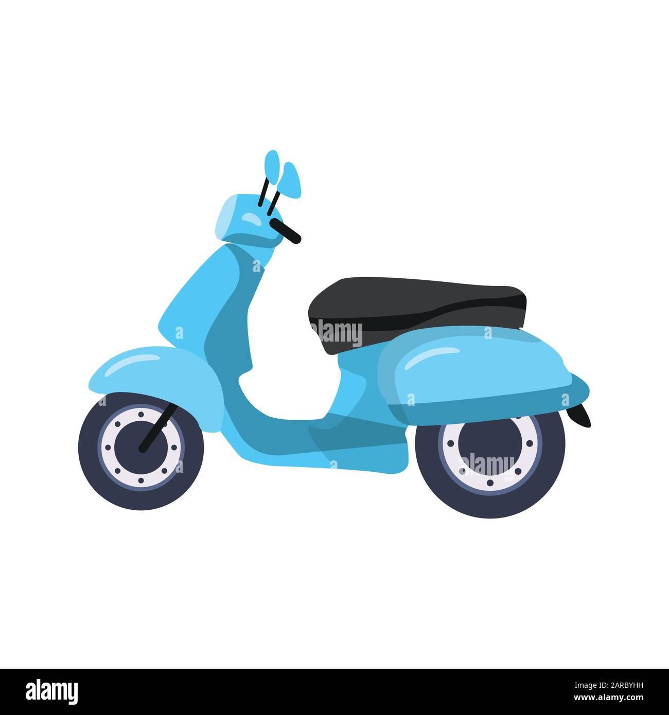 Blue Vintage Scooter Vector Illustration Stock Vector Image Art Alamy