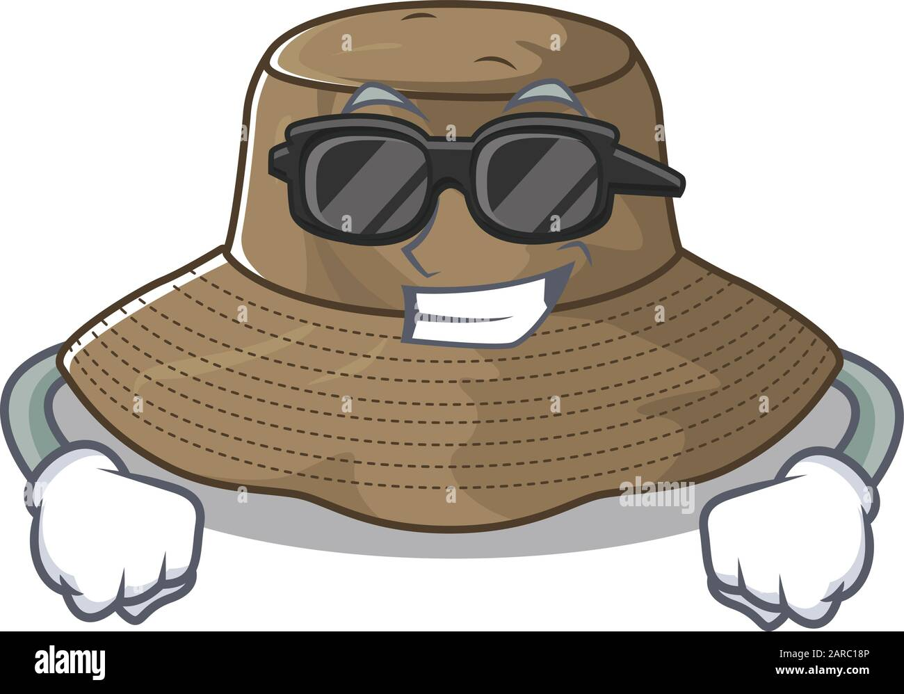 Super Cool Bucket Hat Character Wearing Black Glasses Stock Vector