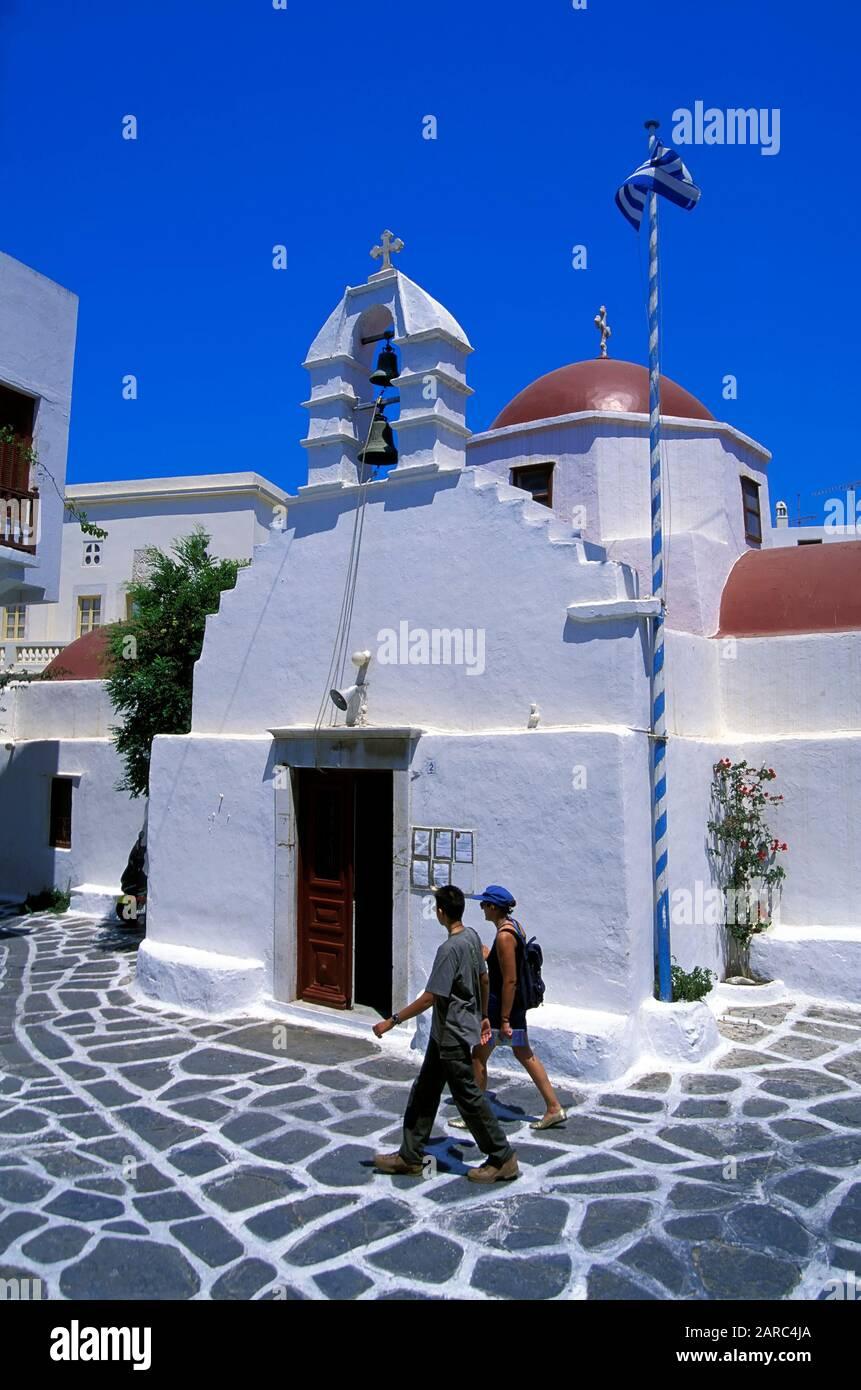 Little white chapel in Mykonos-Town, Mykonos town, Mykonos, Greece, Europe Stock Photo
