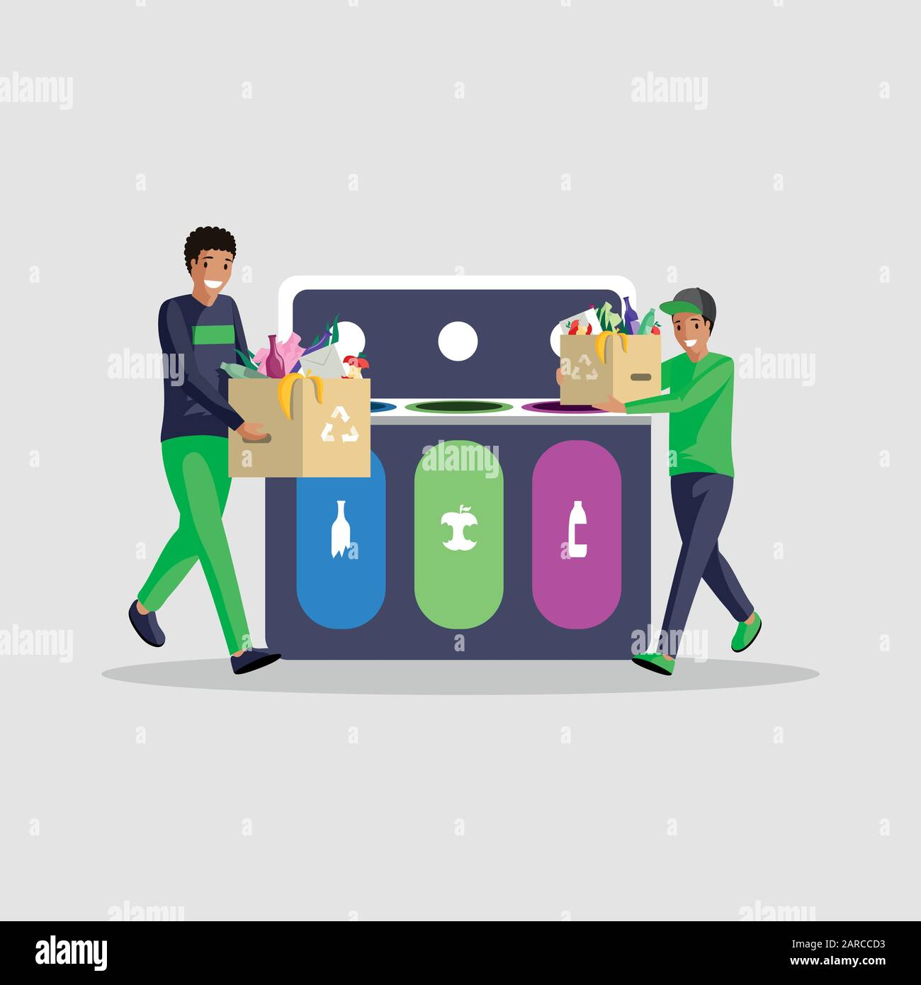 People sorting waste flat vector illustration. African american boys isolated cartoon characters separating garbage in different containers. Eco friendly lifestyle, trash recycling, waste management Stock Vector