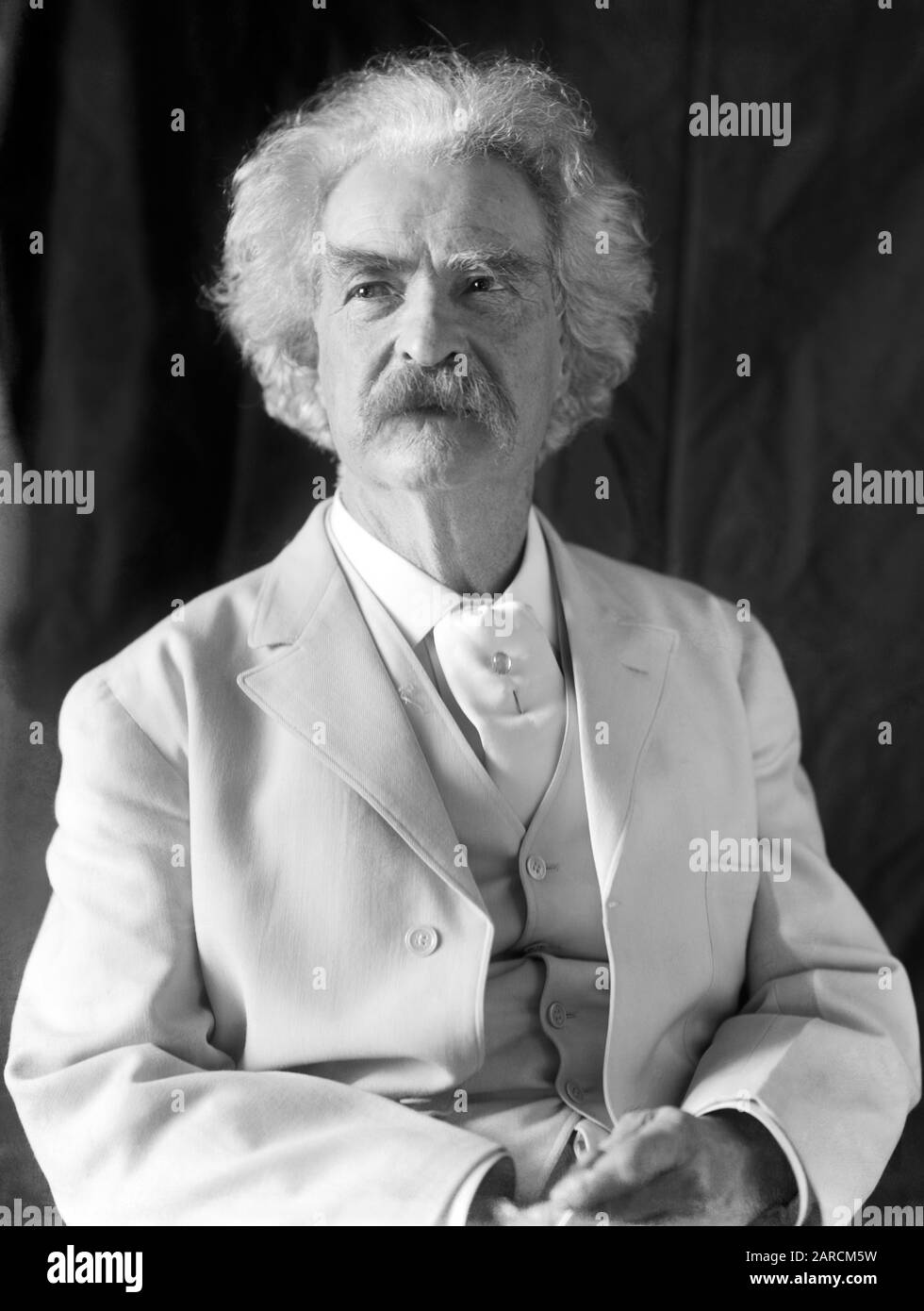 Vintage portrait photo of American writer and humourist Samuel Langhorne Clemens (1835 – 1910), better known by his pen name of Mark Twain. Photo circa 1906 by Frances Benjamin Johnston. Stock Photo