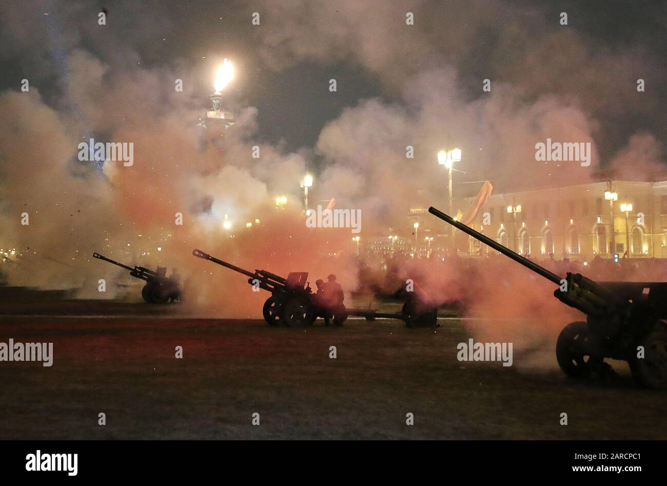ST PETERSBURG, RUSSIA - JANUARY 27, 2020: Artillery guns during a historical reenactment of the 27 January 1944 fireworks as part of the events marking the 76th anniversary of lifting of the WWII Siege of Leningrad during the 1941-45 Great Patriotic War, the Eastern Front of World War II, on the Spit of Vasilievsky Island. Alexander Demianchuk/TASS Stock Photo