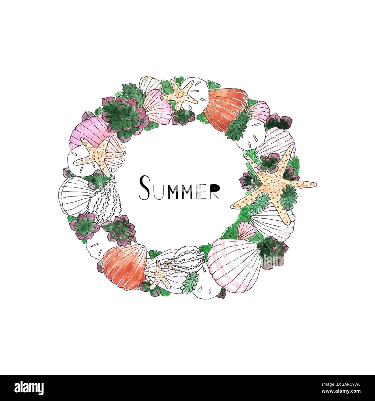 Watercolor Seashell Succulent Wreath With Summer Text Hand Drawing Sketch Can Be Printed On Textile Wallpaper Wrapping Paper Greeting Cards Children Illustration Etc Stock Photo Alamy