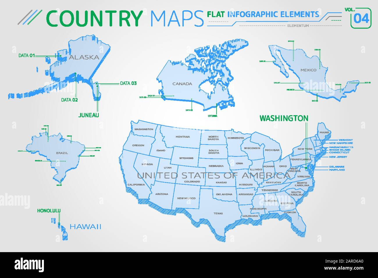 Picture of: United States Map Alaska And Hawaii High Resolution Stock Photography And Images Alamy