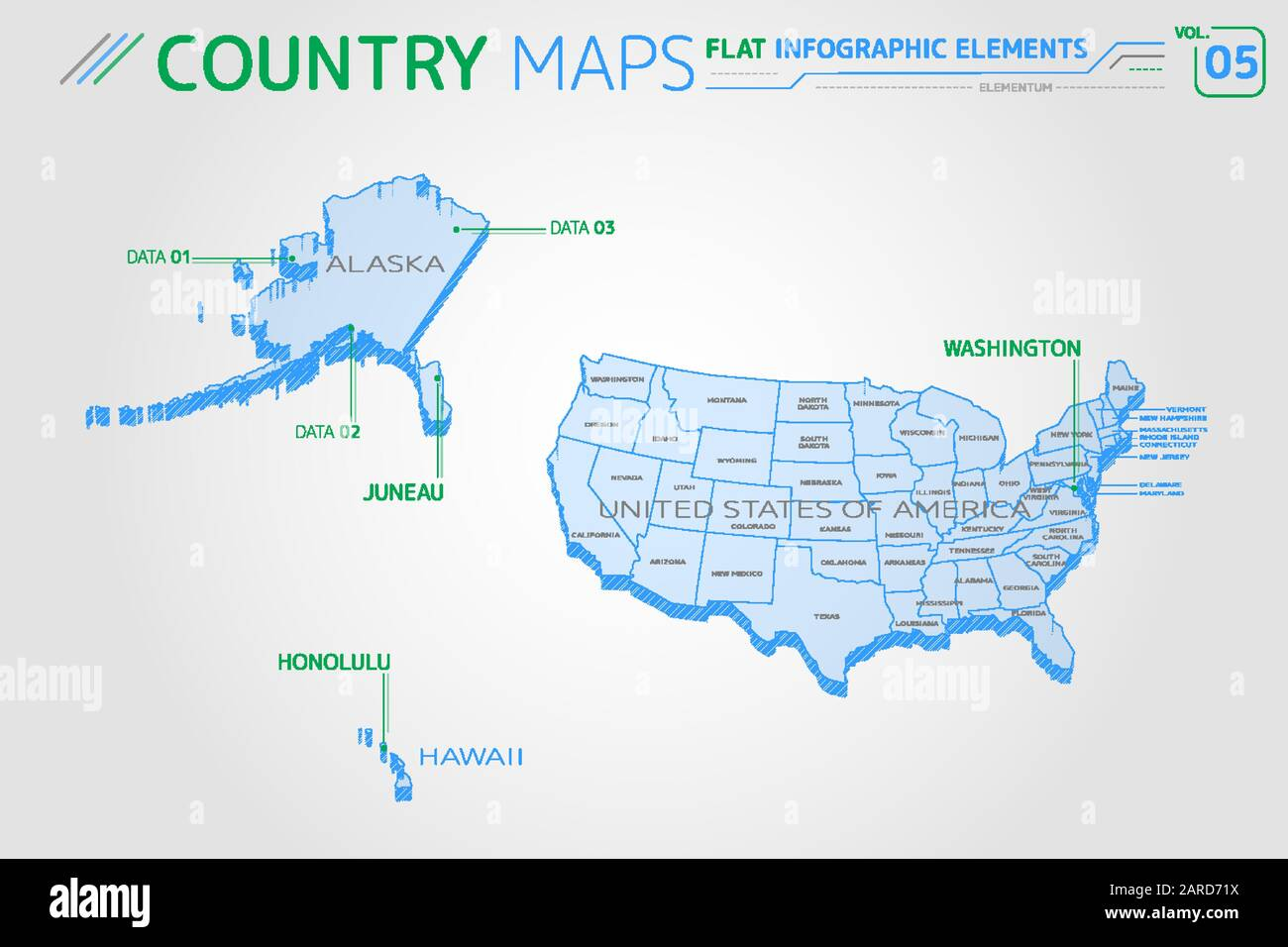 United States Map Alaska And Hawaii High Resolution Stock Photography And Images Alamy
