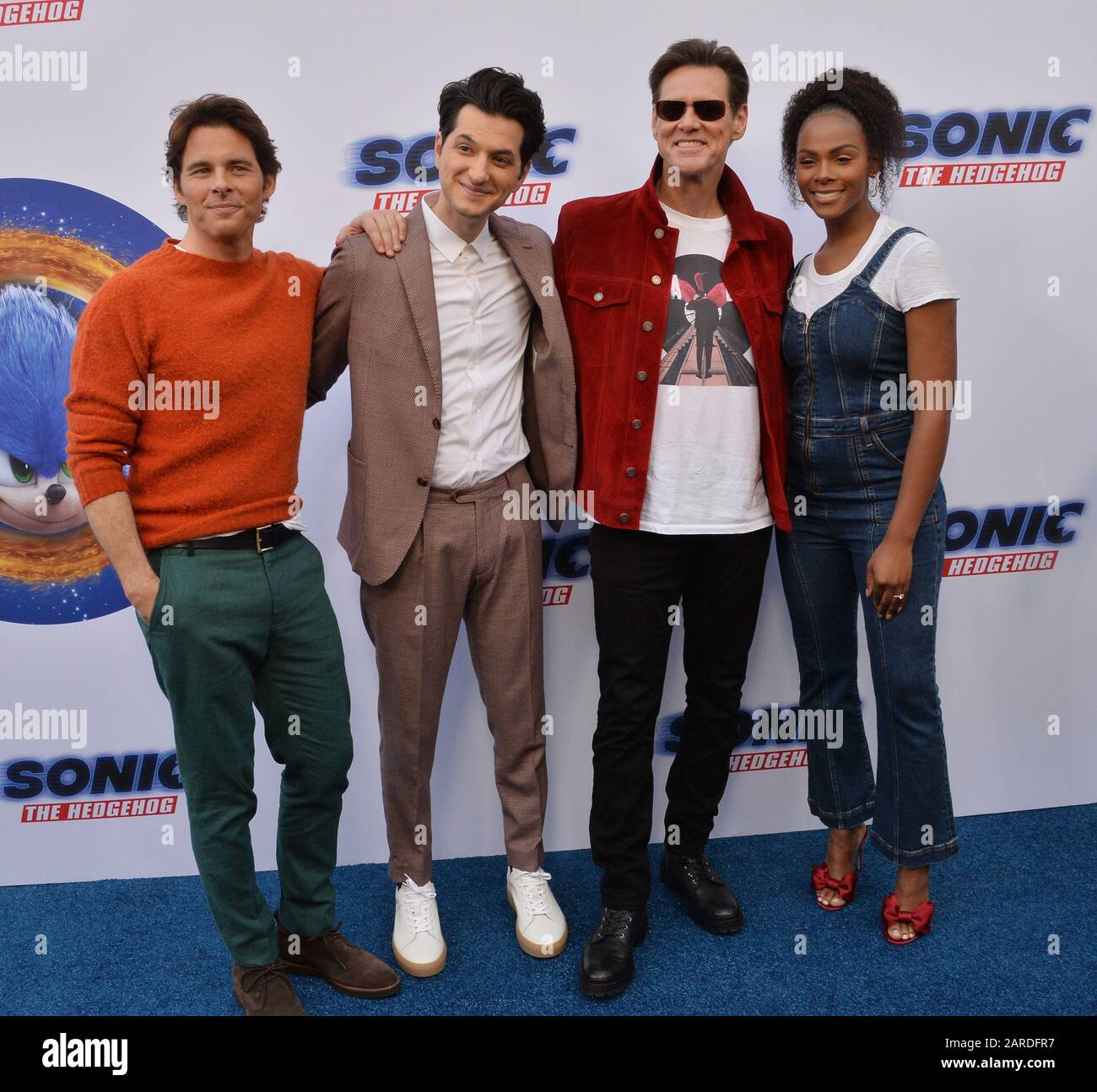 Los Angeles United States 26th Jan 2020 Cast Members James Marsden Ben Schwartz Jim Carrey And Tika Sumpter L R Attend The Sonic The Hedgehog Family Day Event On The Paramount Pictures Lot