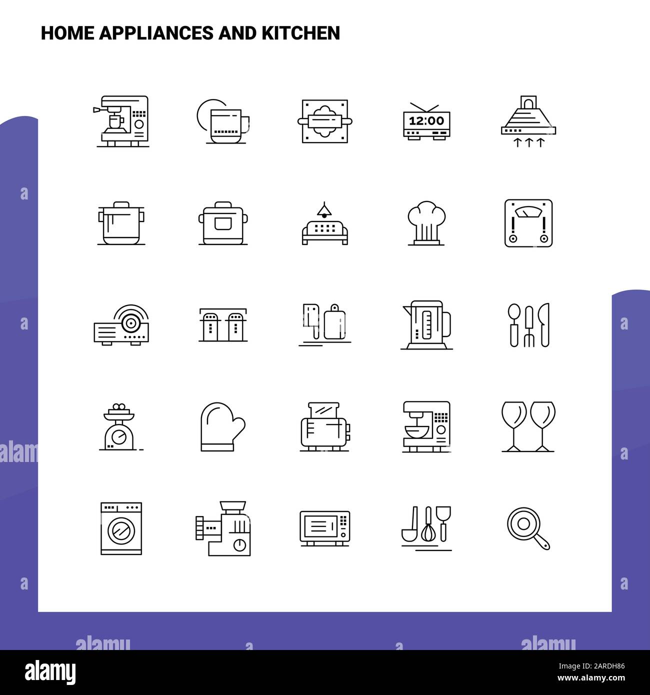 Set Of Home Appliances And Kitchen Line Icon Set 25 Icons Vector