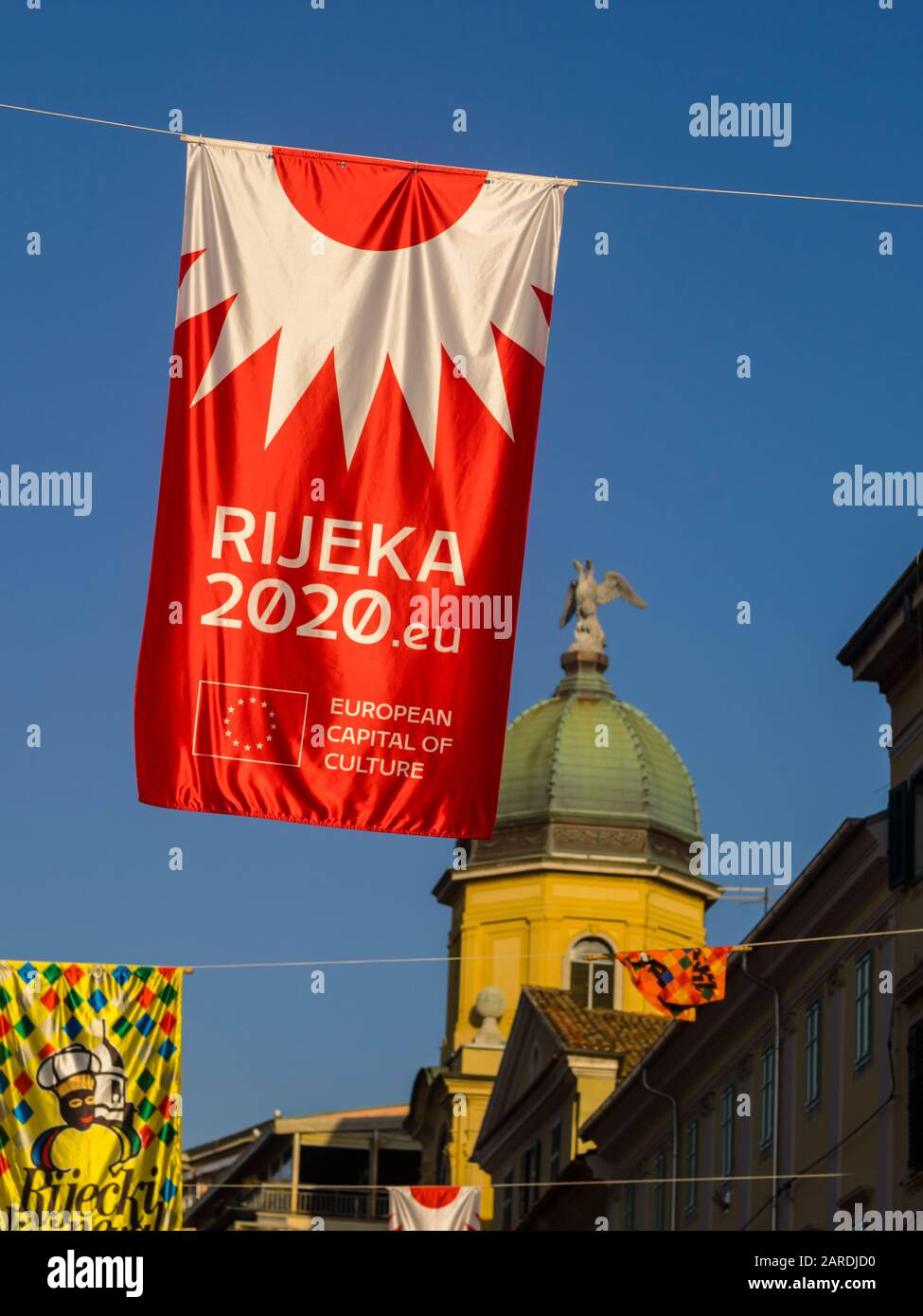 European Capital of Culture preparations before opening EPK 2020 Rijeka in Croatia official flag hanging above Korzo main street Stock Photo