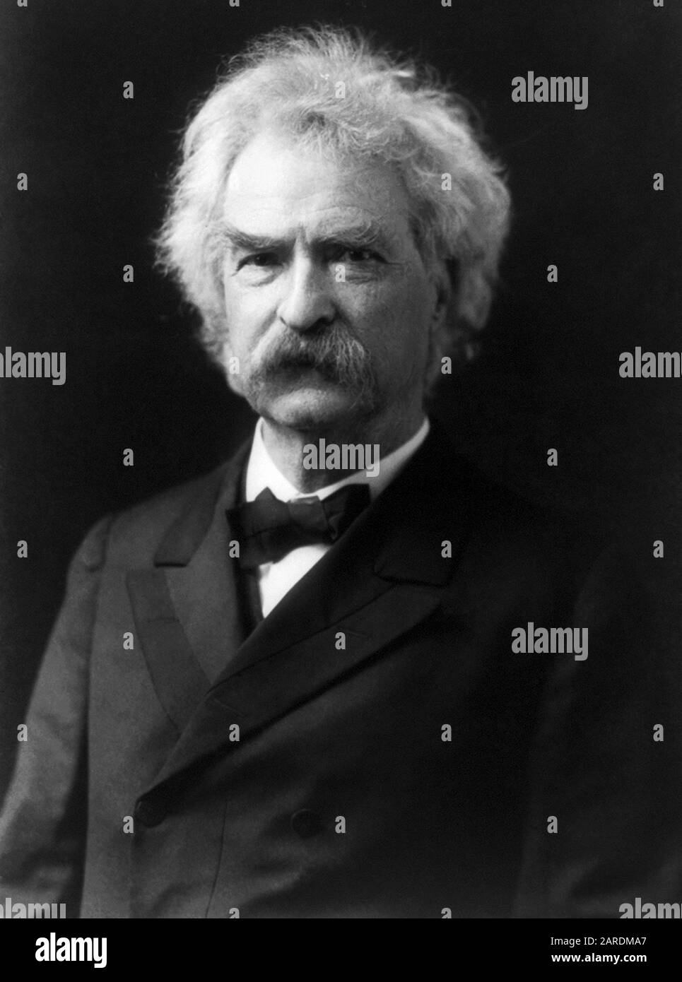 Vintage portrait photo of American writer and humourist Samuel Langhorne Clemens (1835 – 1910), better known by his pen name of Mark Twain. Photo circa 1905 by Theodore C Marceau. Stock Photo