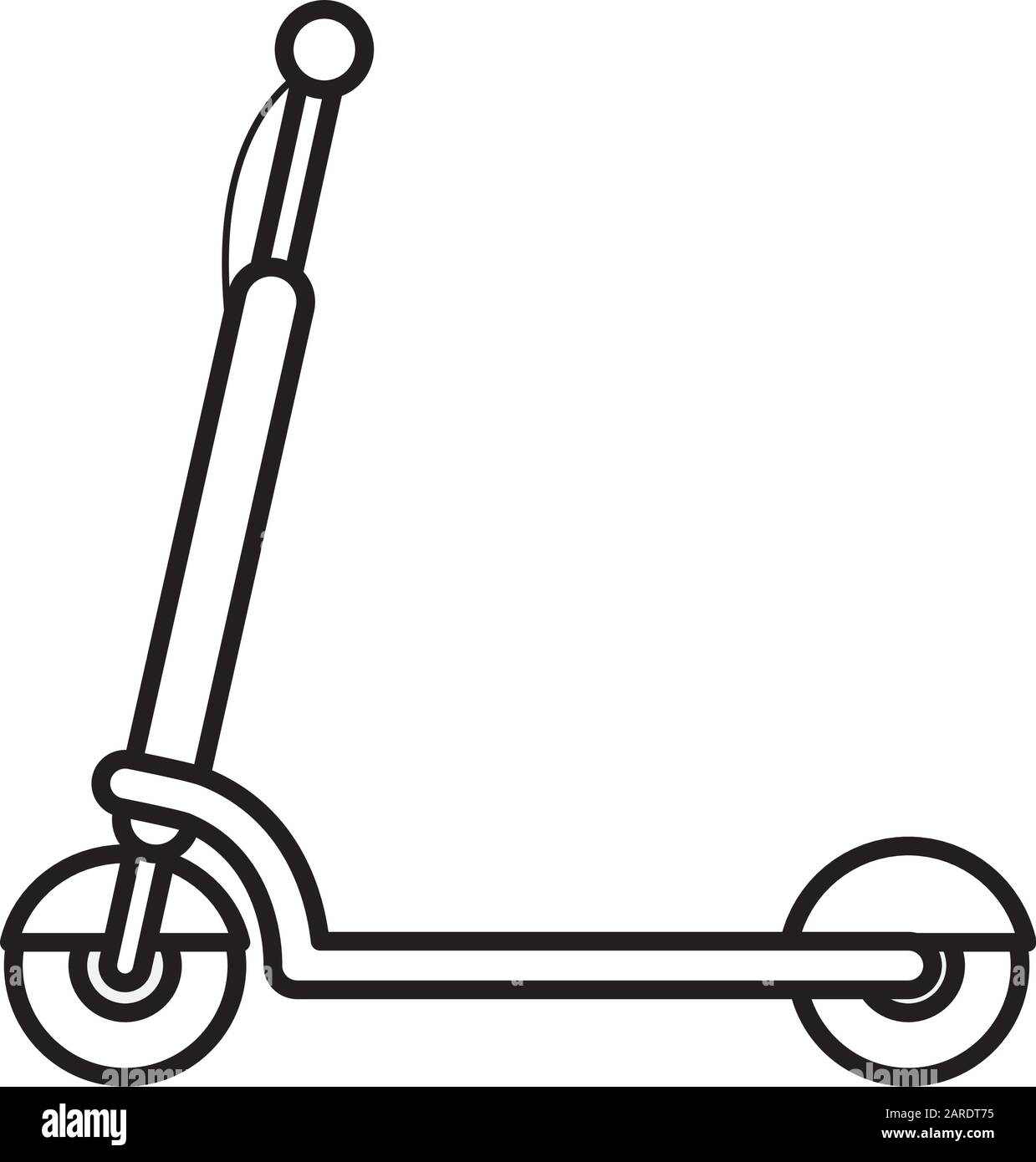 Electric Scooter Transport Recreation Equipment On White Background Vector Illustration Thick Line Stock Vector Image Art Alamy