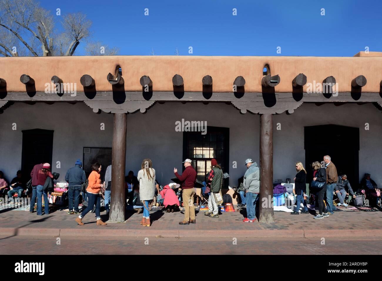 Native American Artists Sell Their Artworks In The Portal Of The Historic Palace Of The Governors In Santa Fe New Mexico Stock Photo Alamy