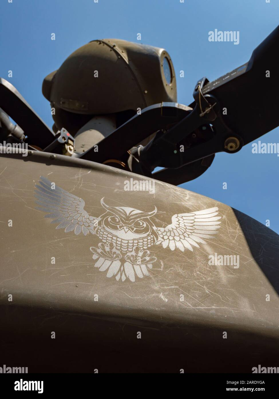 Kiowa Warrior OH-58D helicopter OH58D HRZ Croatian Air Force surface closeup close-up winged badge Stock Photo