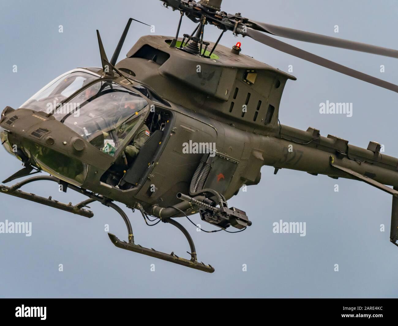 Kiowa Warrior OH-58D reg number 327 helicopter OH58D Croatian Air Force 393 Eskadrila helikoptera 93 krila HRZ fatal accident near Zlarin 27.01.2020 Stock Photo
