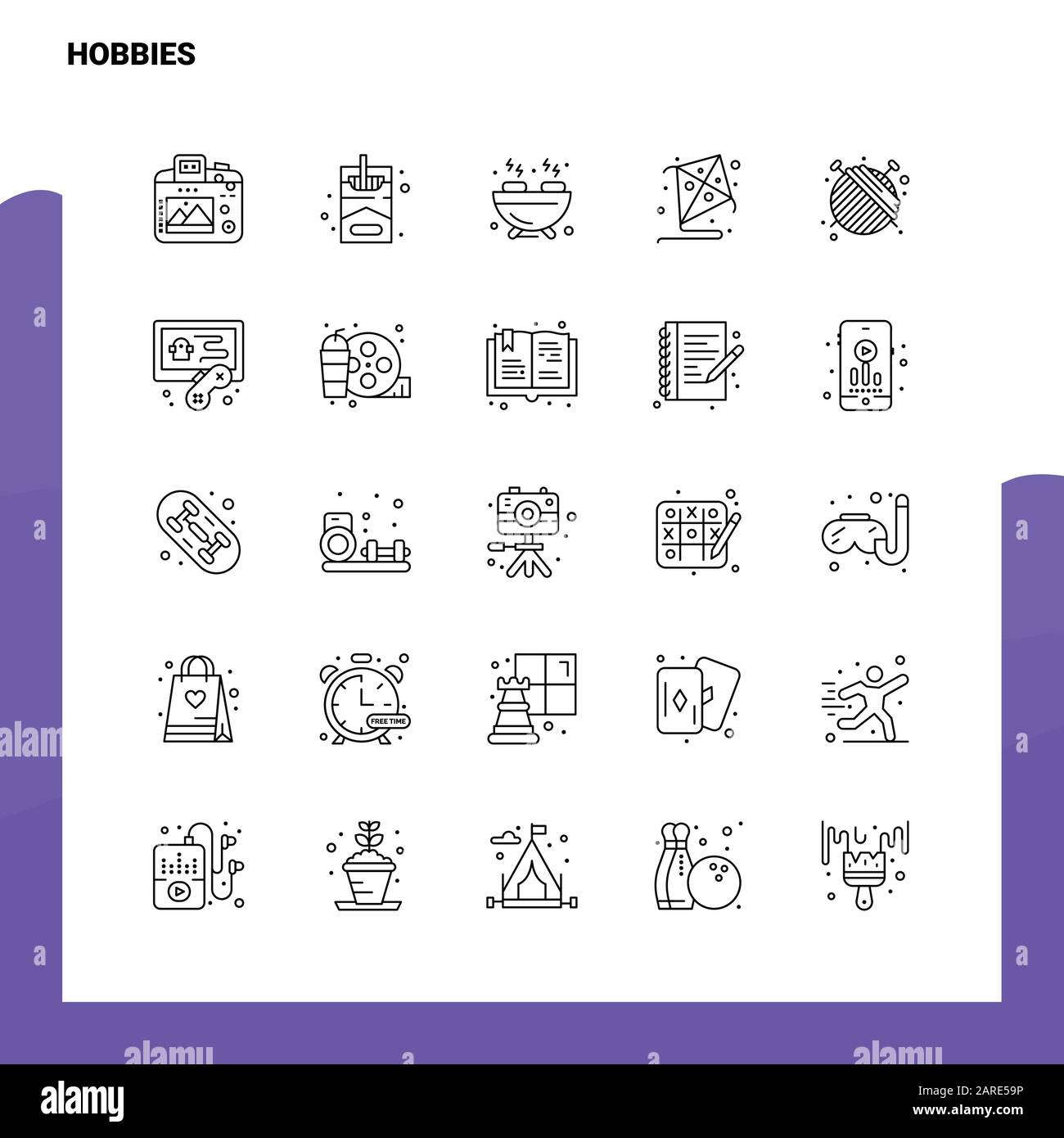 Set Of Hobbies Line Icon Set 25 Icons Vector Minimalism Style Design Black Icons Set Linear Pictogram Pack Stock Vector Image Art Alamy