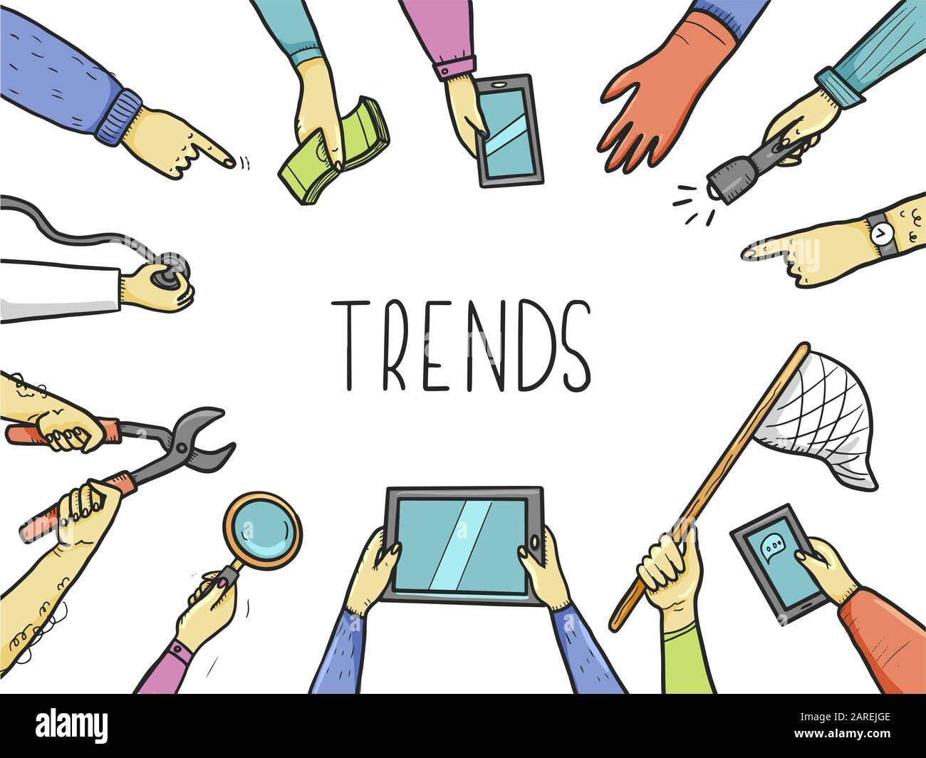 Hand drawn doodle style hands with different elements, tablet, magnifier, skip. Concept of chaze trend, marketing, search popular information, business seo. Vector illustration with text place. Stock Vector