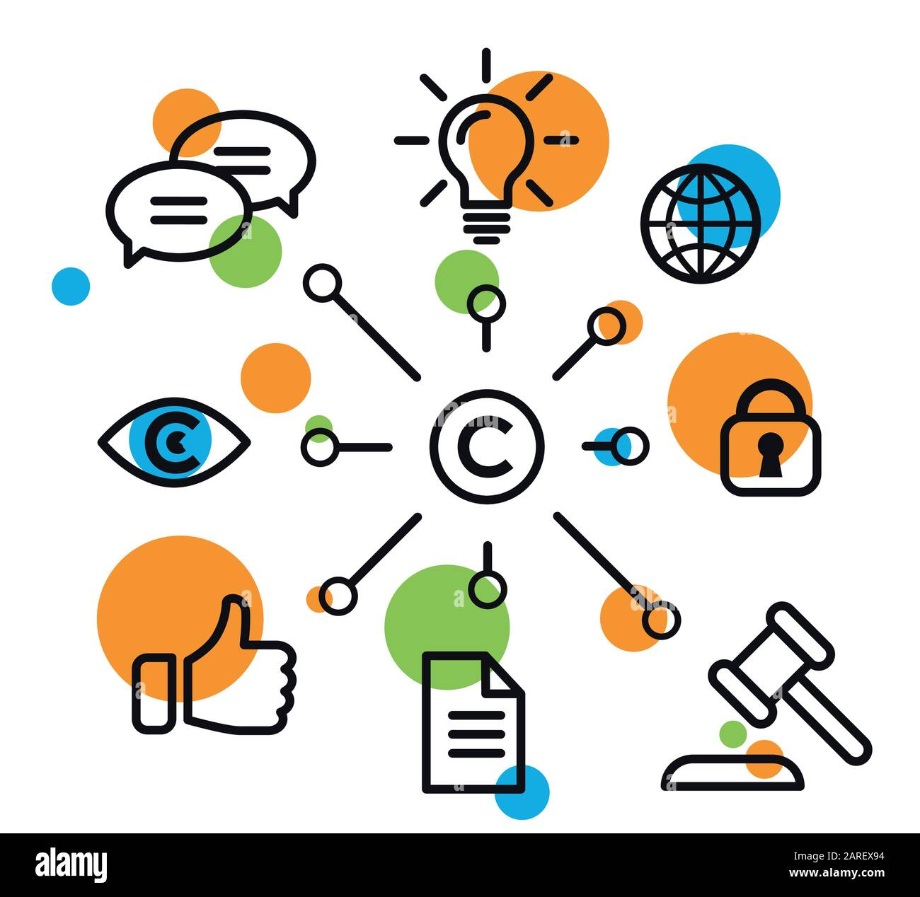 Vector illustration copyright vector icons Stock Vector