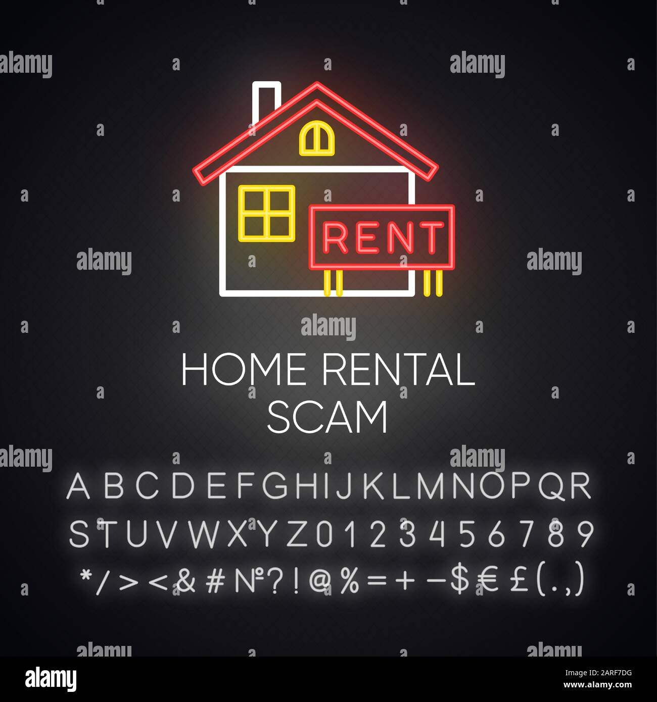 Agent Fake home rental scam neon light icon. house, apartment for rent